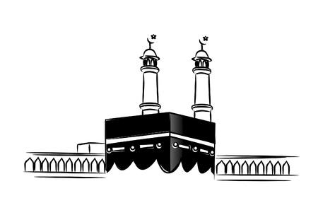 Santa Kaaba en La Meca Arabia Saudita, Ilustración de Vector de boceto dibujado a mano. Ilustración de vector