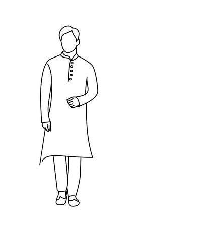 Man in Traditional Dress Flat line art Vector illustration.