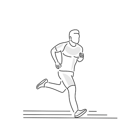 Sport and activity line art drawing, Vector Illustration.