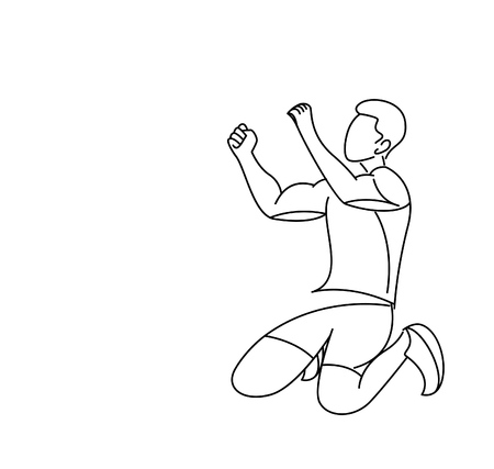 Soccer Player Celebrating - Line Art Design, Vector Illustration.