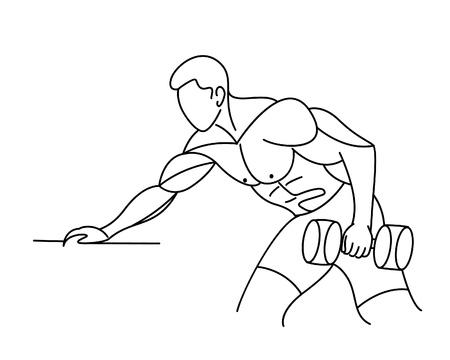 Athletic men pumping up back muscles workout gym bodybuilding - Line art vector illustration. Vetores