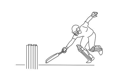 Concept of Batsman run out - cricket championship, Color line art vector illustration.