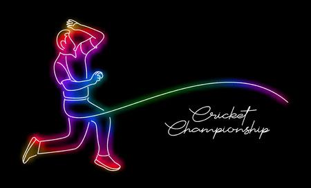 Bowler bowling in cricket championship sports. Line Art design - Vector Illustration. Stock Illustratie