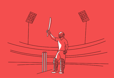 Concept of Batsman playing cricket raises his bat after scoring a full century - championship, Line art design Vector illustration. Иллюстрация
