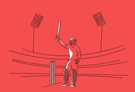 El concepto de bateador que juega al cricket levanta su bate después de anotar un siglo completo: campeonato, diseño de arte lineal, ilustración vectorial. Ilustración de vector