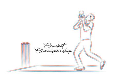 Konzept des Cricket-Sportlers, der Match Dive to Catch spielt. Vektor-Illustration Vektorgrafik