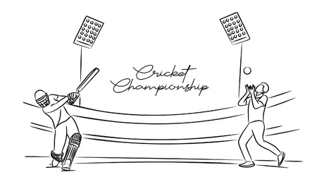 Cricket championship with ball wicket in Cricket stadium flat line art graphic design, vector illustration