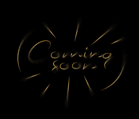 Coming soon Calligraphic Particle art Vector illustration Design.