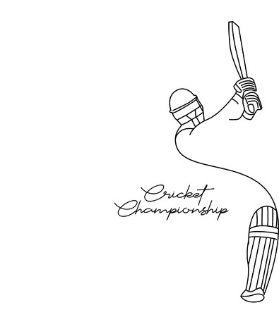 Concept of Batsman playing cricket - championship, Line art design Vector illustration. Illustration