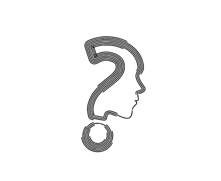 Flat line art Question Icon Vector Design. 矢量图像