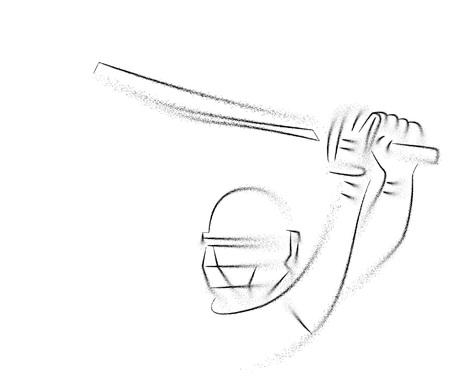 Concept of Batsman playing cricket - championship, Line art design Vector illustration. Ilustração