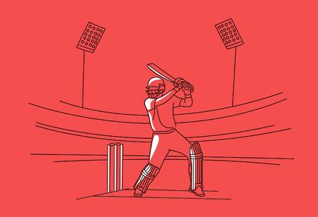 Concept of Batsman playing cricket - championship, Line art design Vector illustration. Ilustrace