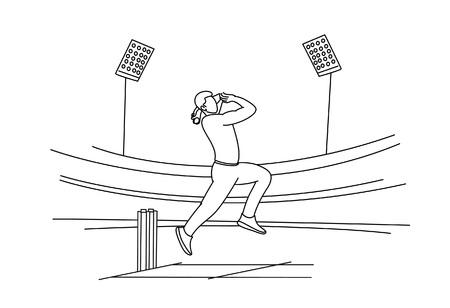 Bowler bowling in cricket championship sports. Line Art design - Vector Illustration. Ilustração