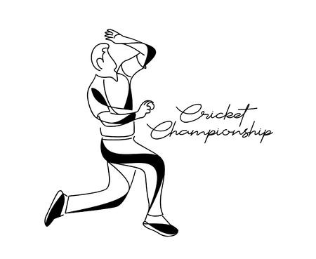 Bowler bowling dans les sports de championnat de cricket. Conception d'art en ligne - Illustration vectorielle.