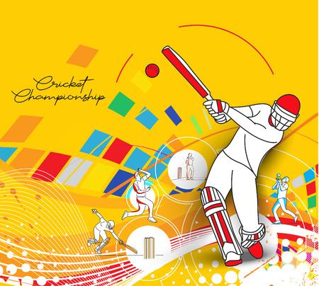 Motif coloré abstrait avec batteur et melon jouant au fond du championnat de cricket. Utiliser pour la couverture, l'affiche, le modèle, la brochure, la décoration, le dépliant, la bannière.