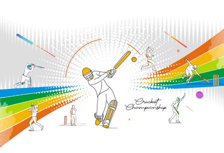 Motif coloré abstrait avec batteur et melon jouant au fond du championnat de cricket. Utiliser pour la couverture, l'affiche, le modèle, la brochure, la décoration, le dépliant, la bannière. Vecteurs