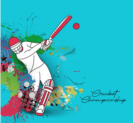 Abstract colorful pattern with batsman and bowler playing cricket championship background. Use for cover, poster, template, brochure, decorated, flyer, banner. Stock Vector - 122826726
