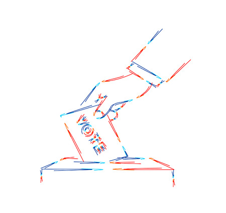 Vote line icon. Hand putting paper in the voting box. Line art vector illustration.