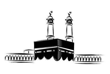 Heilige Kaaba in Mekka Saudi-Arabien, Hand gezeichnete Skizze Vektor-Illustration.