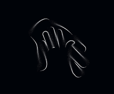 Symbol of Help Center, Particle art vector illustration.