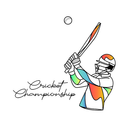 Concept of Batsman playing cricket - championship, Line art design Vector illustration. 向量圖像