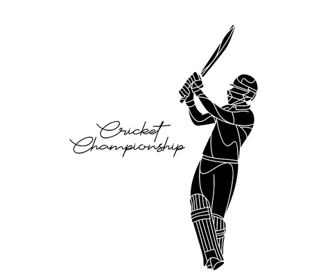 Concept of Batsman playing cricket - championship, Line art design Vector illustration. 向量圖像