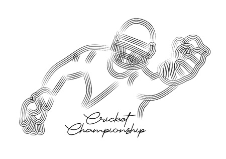 Concept of Cricket sportsman playing match Dive to Catch. Vector illustration