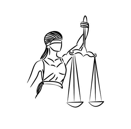 La estatua de la justicia - dama de la justicia o Iustitia / Justitia, la diosa romana de la justicia - Ilustración de vector de arte lineal.