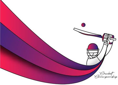 Abstraktes buntes Muster mit Schlagmann und Bowler, die Cricket-Meisterschaftshintergrund spielen. Verwenden Sie für Cover, Poster, Vorlage, Broschüre, dekoriert, Flyer, Banner. Vektorgrafik