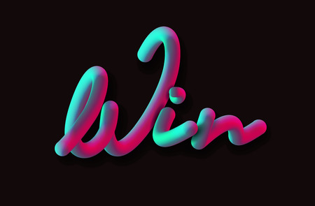 Win Calligraphic 3d Pipe Style Text Vector illustration Design.