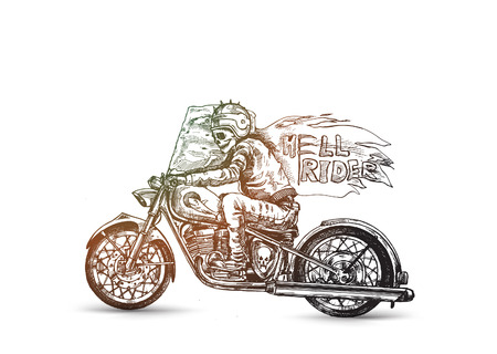 Hell rider with scythe riding motorcycle, vector illustration.