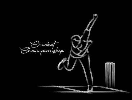 Bowler bowling in cricket championship sports. Line Art design - Vector Illustration. 向量圖像