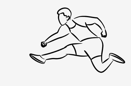 Athletic man practicing long jump in track and field Line art Design, vector illustration. 일러스트