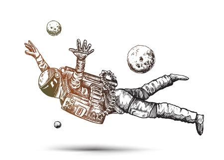 Astronaut in spacesuit, Hand Drawn Sketch Design illustration. Ilustração Vetorial