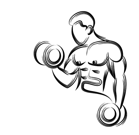 Muscular Man Workout with Barbell Sport and Activity Line art Drawing, Vector Illustration.