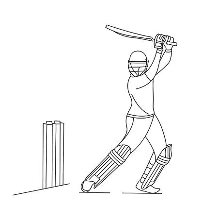Abstraktes buntes Muster mit Schlagmann und Bowler, die Cricket-Meisterschaftshintergrund spielen. Verwenden Sie für Cover, Poster, Vorlage, Broschüre, dekoriert, Flyer, Banner.