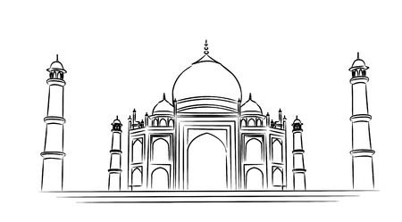 Taj Mahal Hand Drawn, India Agra - Line art vector illustration.