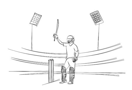 Concept of Batsman playing cricket raises his bat after scoring a full century - championship