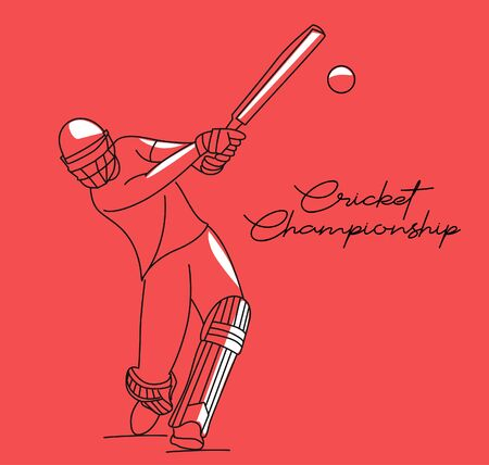 Concept of Batsman playing cricket - championship, Line art design