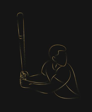 Baseball player, hitter swinging with bat, abstract isolated vector silhouette