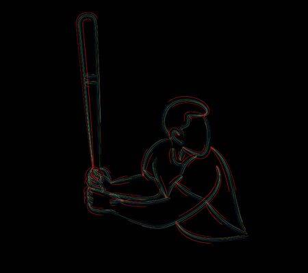 Jugador de béisbol, bateador balanceándose con bate, abstracto aislado Ilustración de vector