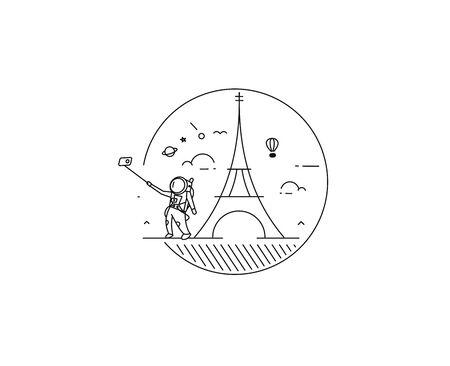 Astronaut take selfie with dreams of Paris