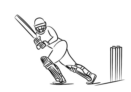 Concept of Batsman Playing Cricket