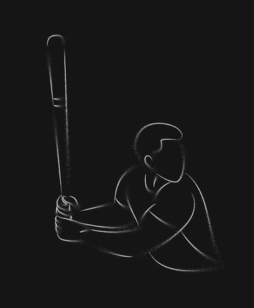 Baseball player, hitter swinging with bat, abstract isolated