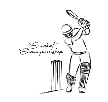 Concept of Batsman Playing Cricket  - championship, Line art design Vector illustration. Иллюстрация