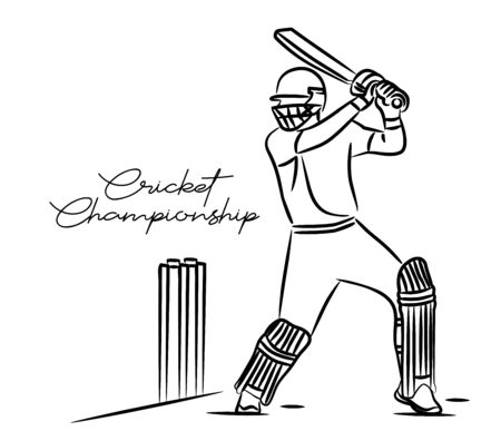 Concept of Batsman Playing Cricket - championship, Line art design Vector illustration. Vetores