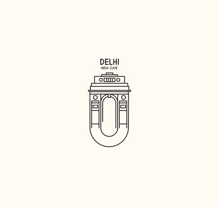 India Gate at New Delhi. 1920s triumphal arch and war memorial. Line art vector illustration.