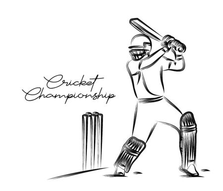 Concept of Batsman Playing Cricket  - championship, Line art design Vector illustration. Çizim
