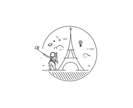 Astronaut take selfie with dreams of Paris ( Eiffel tower ) - Flat Line art vector illustration.