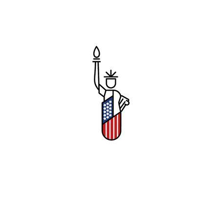 Statue of Liberty Landmark US   Patriotic America vector illustration  イラスト・ベクター素材